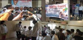 Karnataka State Minister for Textiles and Social Welfare Shri.  On the occasion of Shrimant (Tatya) Patils 66th birthday, Nandadeep Netralaya organized an eye check-up at Kempwad Sugar Factory.